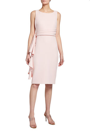 Badgley Mischka Collection Side Ruffle Sleeveless Sheath Dress
