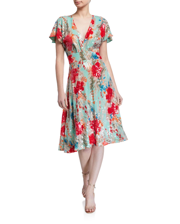 Badgley Mischka Collection Sequin Floral Print Short-Sleeve Dress w/ Swing Skirt