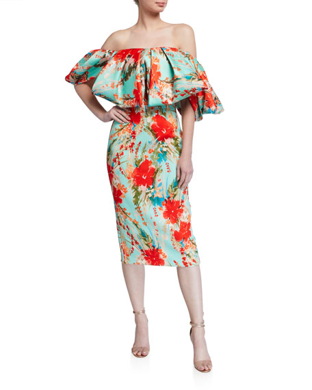 Badgley Mischka Collection Floral Off-the-Shoulder Puff-Sleeve Sheath Dress