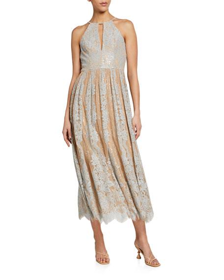 Badgley Mischka Collection Sequin Lace Racer Halter Dress