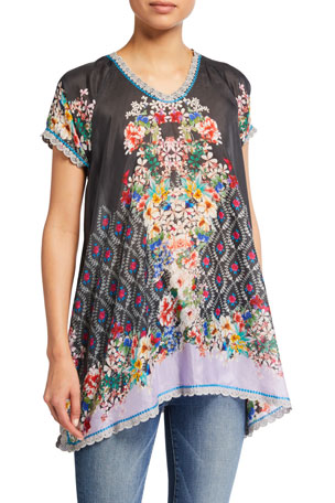 Johnny Was Maya Printed Silk Top