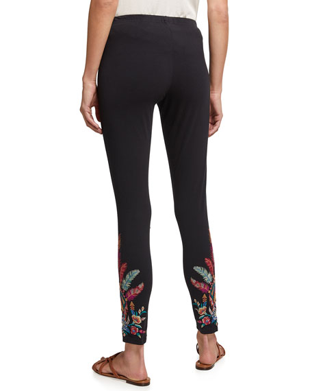 Image 2 of 4: Johnny Was Imani Leggings with Floral Embroidery
