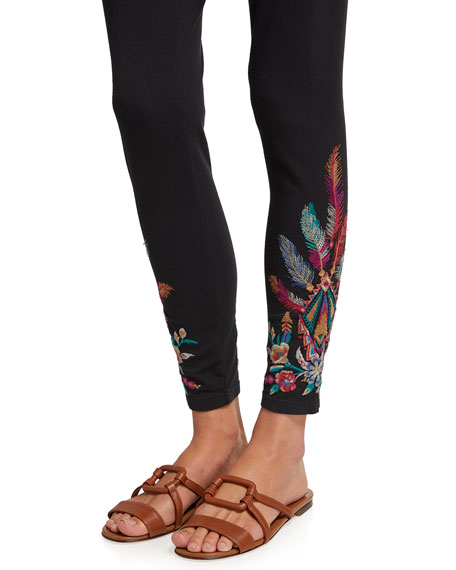 Image 4 of 4: Johnny Was Imani Leggings with Floral Embroidery