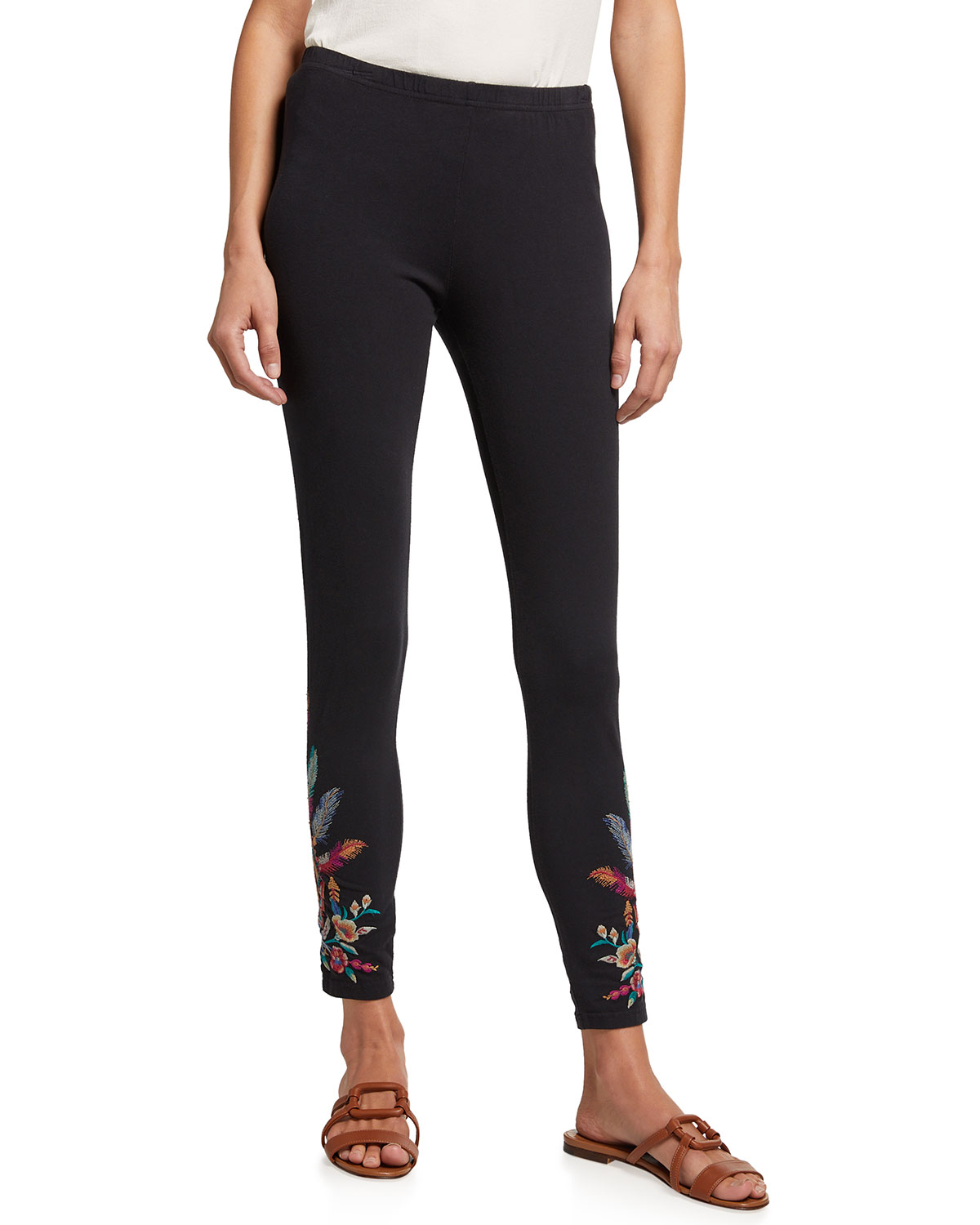 Johnny Was Imani Leggings with Floral Embroidery