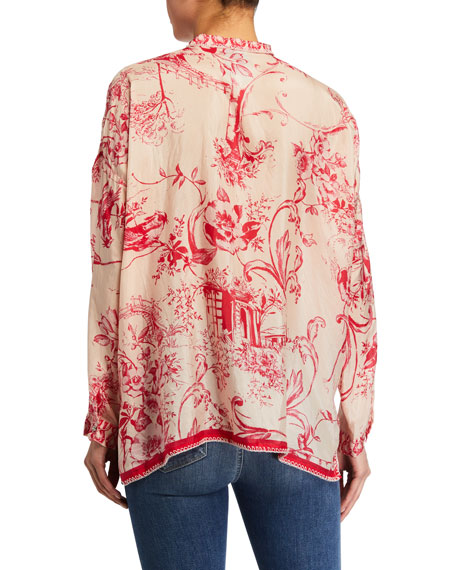 Image 2 of 2: Johnny Was Plus Size Wilton Floral Print Button Down Silk Blouse