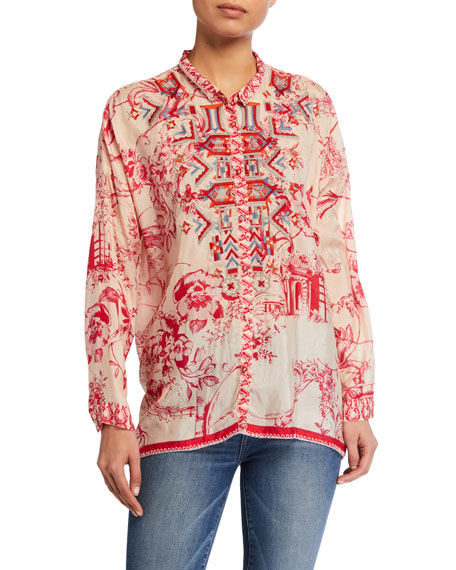 Image 1 of 2: Johnny Was Plus Size Wilton Floral Print Button Down Silk Blouse