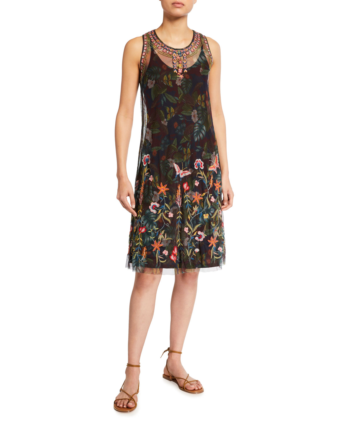 Johnny Was Omphilia Embroidered Sleeveless Mesh Dress