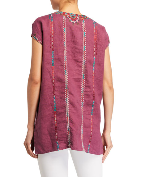Image 2 of 2: Johnny Was Verena Easy Yoke Linen Tunic