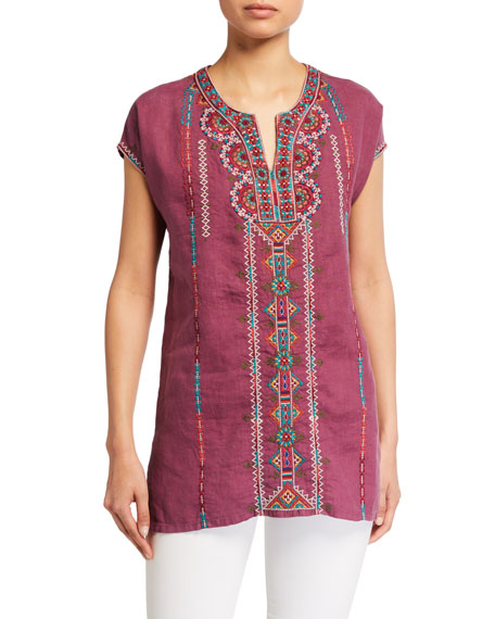 Image 1 of 2: Johnny Was Verena Easy Yoke Linen Tunic