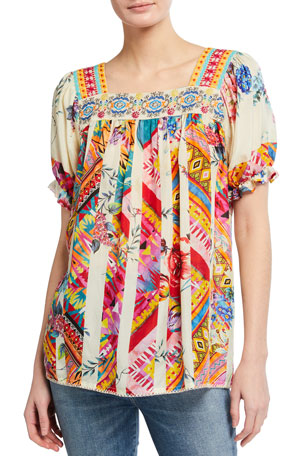 Johnny Was Tweety Mixed Print Silk Top