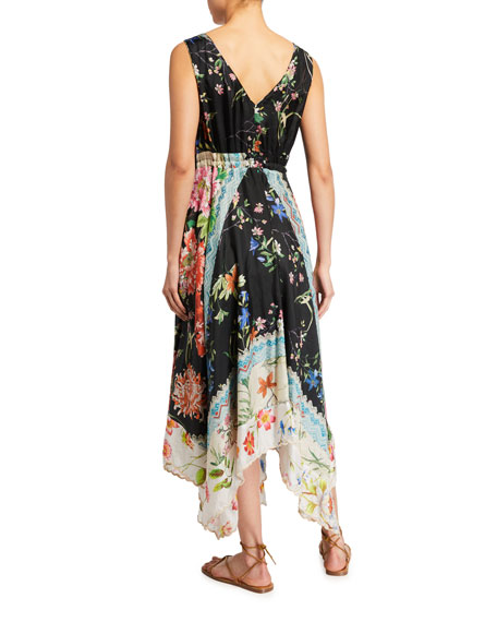 Image 2 of 2: Johnny Was Meru Floral Print Sleeveless Handkerchief Dress