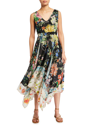 Johnny Was Meru Floral Print Sleeveless Handkerchief Dress
