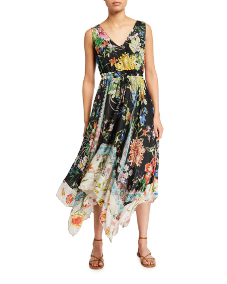 Image 1 of 2: Johnny Was Meru Floral Print Sleeveless Handkerchief Dress