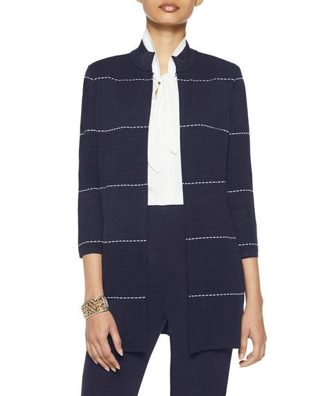 Misook Plus Size Dash Detail Ottoman Knit Jacket