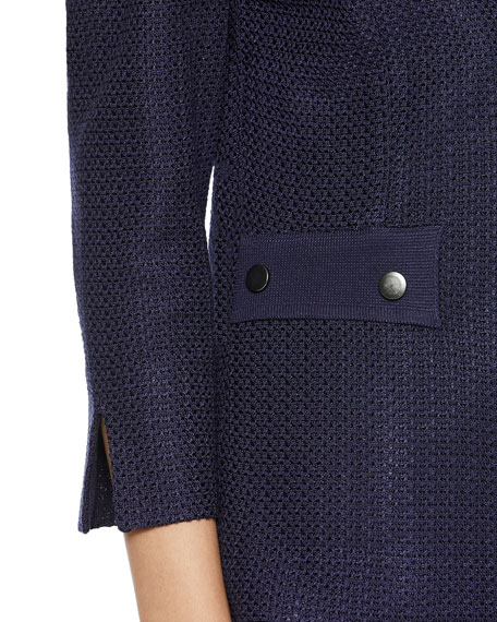 Misook Plus Size Button Detail Tailored Knit Jacket