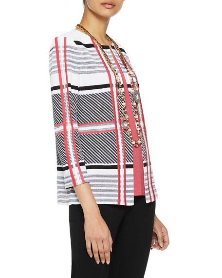 Misook Mixed Lines & Plaid Knit Jacket