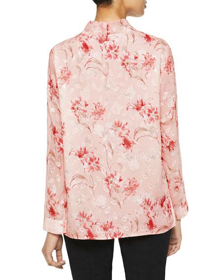 Misook Tie-Neck Floral Crepe Long-Sleeve Blouse