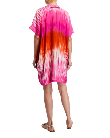 Image 2 of 2: Natori Tie Dyed Painted Shift Short Dress