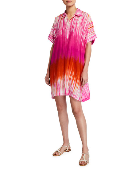 Image 1 of 2: Natori Tie Dyed Painted Shift Short Dress