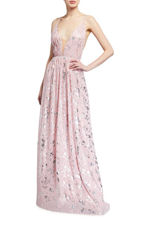 Love, Theia Sleeveless Foil Print Chiffon Gown