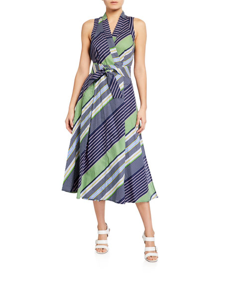 Image 1 of 2: Tory Burch Overprinted Sleeveless Wrap Dress