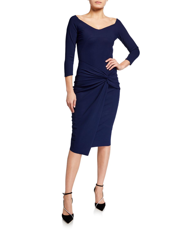 Chiara Boni La Petite Robe V-Neck Twist-Front Sheath Dress