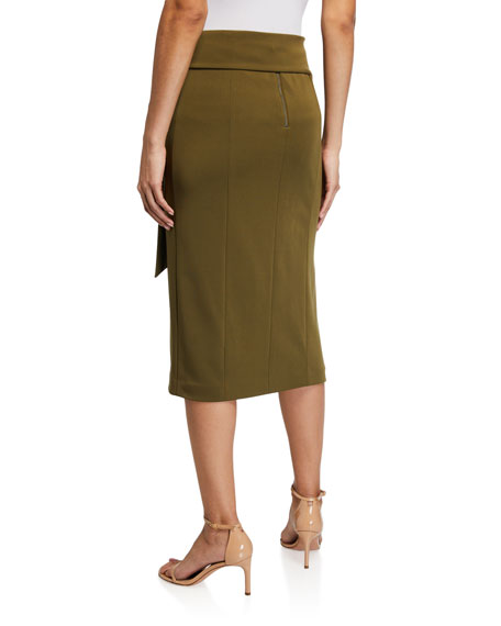 Image 2 of 3: Alice + Olivia Riva Slit Midi Skirt w/ Tie