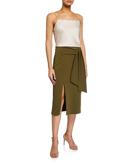 Image 3 of 3: Alice + Olivia Riva Slit Midi Skirt w/ Tie