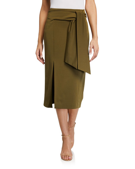 Image 1 of 3: Alice + Olivia Riva Slit Midi Skirt w/ Tie