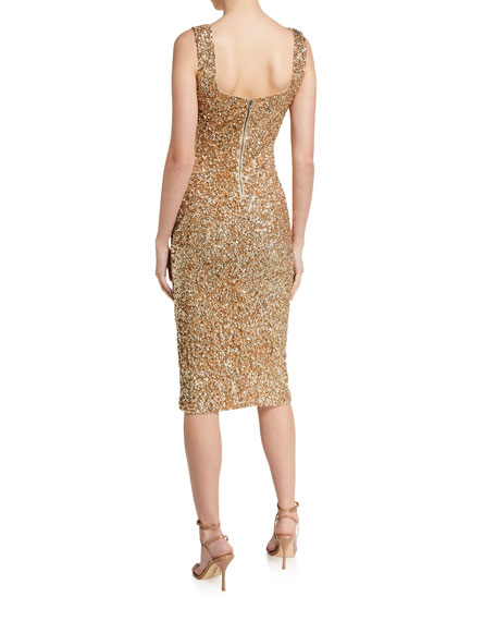 Image 2 of 2: Alice + Olivia Helen Sequined Fitted Square-Neck Dress