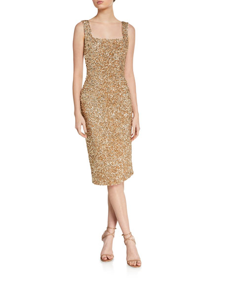 Image 1 of 2: Alice + Olivia Helen Sequined Fitted Square-Neck Dress