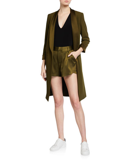Image 1 of 2: Alice + Olivia Kylie Long Easy Shawl-Collar Jacket