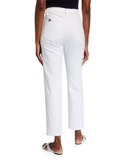 Image 2 of 3: Tory Burch Button-Fly Cropped Denim Pants