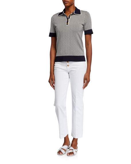 Image 3 of 3: Tory Burch Button-Fly Cropped Denim Pants