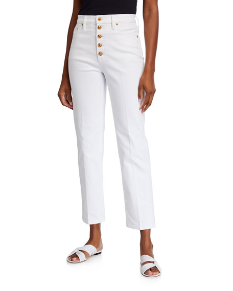 Image 1 of 3: Tory Burch Button-Fly Cropped Denim Pants