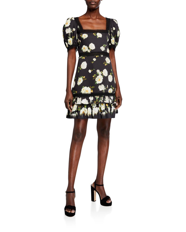 Alice + Olivia Wylie Square-Neck Puff-Sleeve Mini Dress