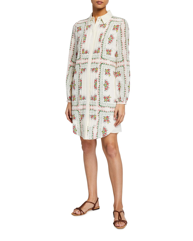 Tory Burch Cora Floral Button-Front Silk Dress