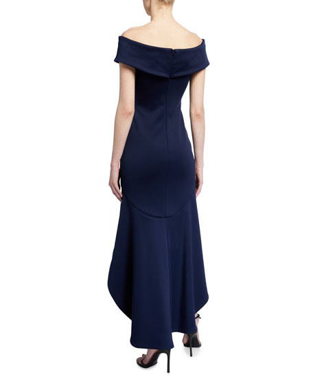 Image 2 of 2: Black Halo Anderson Off-the-Shoulder High-Low Neoprene Dress