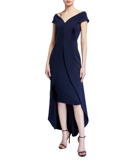 Image 1 of 2: Black Halo Anderson Off-the-Shoulder High-Low Neoprene Dress