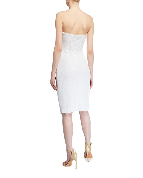 Black Halo Domino Strapless Sequin Cocktail Dress