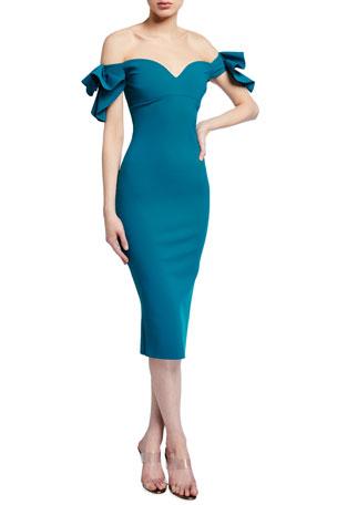 Chiara Boni La Petite Robe Off-the-Shoulder Sweetheart Bodycon Dress