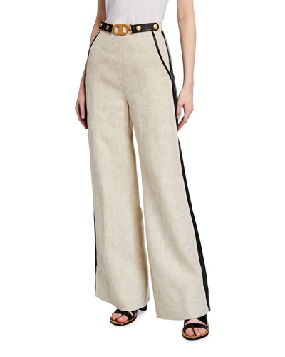 High-Waist Leather Trimmed Linen Trousers