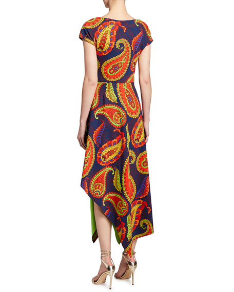 Image 2 of 2: Chiara Boni La Petite Robe Paisley Short Sleeve Asymmetrical Midi Dress