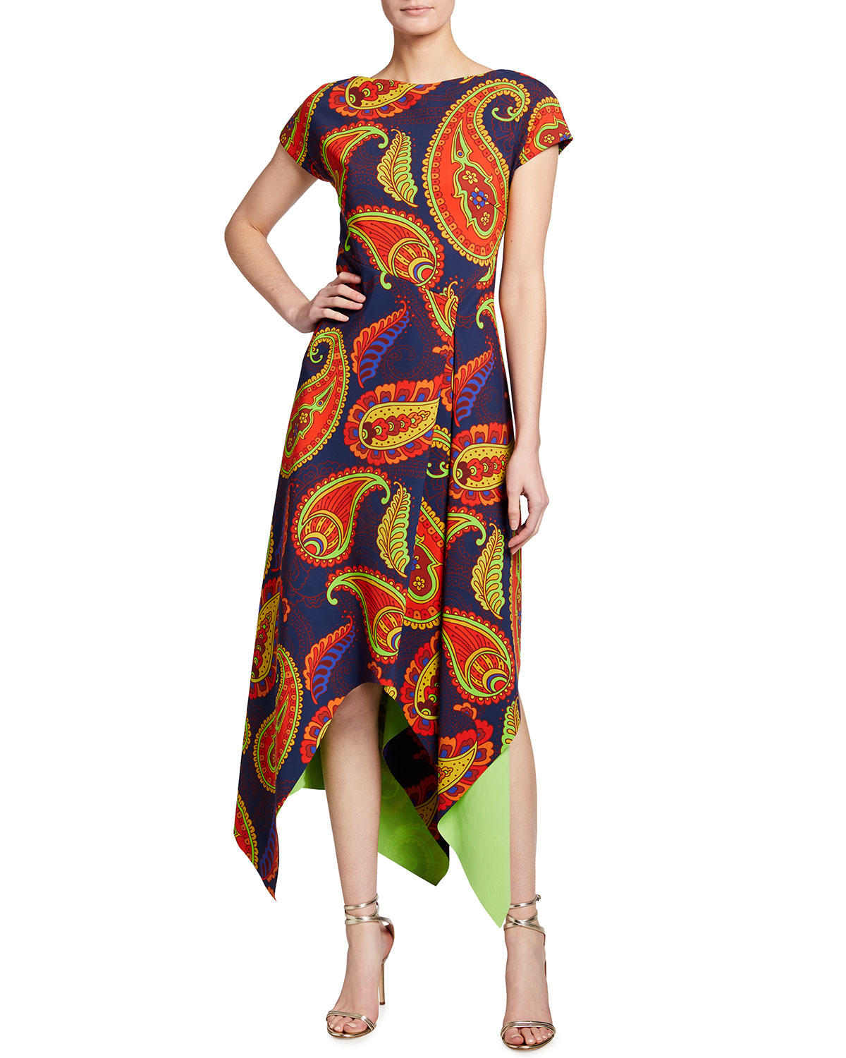Chiara Boni La Petite Robe Paisley Short Sleeve Asymmetrical Midi Dress