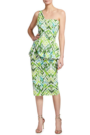 Chiara Boni La Petite Robe Ikat Printed One-Shoulder Peplum Dress