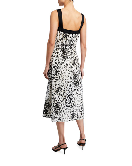 Image 2 of 2: Natori Ombre Animal Print Cotton Poplin Midi Dress