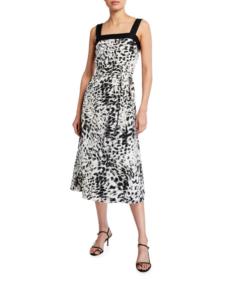Image 1 of 2: Natori Ombre Animal Print Cotton Poplin Midi Dress