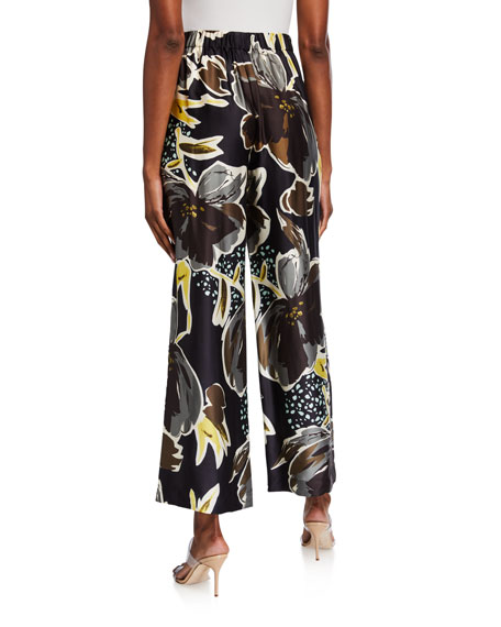 Image 2 of 3: Lafayette 148 New York Plus Size Riverside Poppy Print Sheen Cloth Ankle Pants