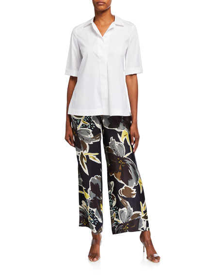 Image 3 of 3: Lafayette 148 New York Plus Size Riverside Poppy Print Sheen Cloth Ankle Pants