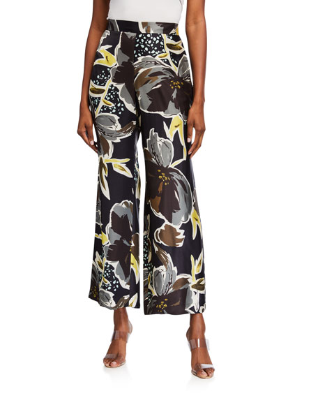 Image 1 of 3: Lafayette 148 New York Plus Size Riverside Poppy Print Sheen Cloth Ankle Pants